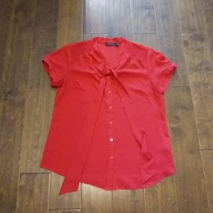 The Limited large red button down blouse pussy bow